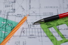 Desenhos arquitectónicos Fotos de Stock