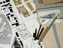 Desenhos arquitectónicos, modelos, planeamento urbanístico Imagens de Stock