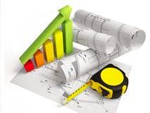 Desenhos arquitetónicos com ferramentas da construção Foto de Stock