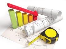 Desenhos arquitetónicos com ferramentas da construção Imagens de Stock Royalty Free