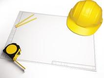 Desenhos arquitetónicos com ferramentas da construção Imagem de Stock