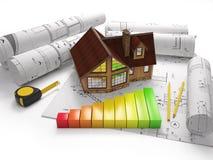 Desenhos arquitetónicos com ferramentas da construção Foto de Stock Royalty Free