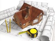 Desenhos arquitetónicos da estrutura de construção Imagem de Stock Royalty Free