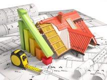 Desenhos arquitetónicos da estrutura de construção Imagens de Stock Royalty Free