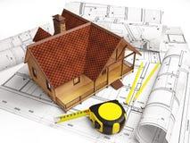 Desenhos arquitetónicos da estrutura de construção Fotografia de Stock