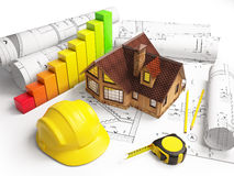 Desenhos arquitetónicos da estrutura de construção Imagens de Stock