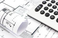 Desenhos arquitetónicos de uma casa Imagem de Stock Royalty Free
