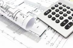 Desenhos arquitetónicos de uma casa Imagem de Stock