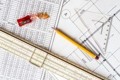 Desenhos arquitetónicos, ferramentas para esboçar foto de stock royalty free