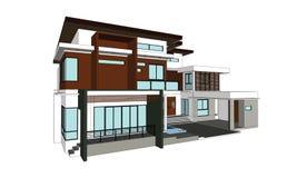 Desenhos, casas do projeto Imagens de Stock