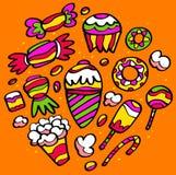 Desenhos coloridos dos doces Imagens de Stock Royalty Free