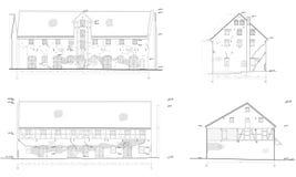 Desenhos da casa velha, fachadas Ilustração Stock