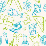 Desenhos da ciência no teste padrão sem emenda Imagem de Stock