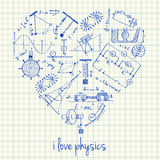 Desenhos da física na fôrma do coração ilustração stock