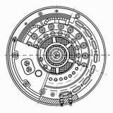 Desenhos da fusão fria de reator nuclear Ilustra a ideia da energia verde, desenvolvimento de energia nuclear, e altamente Imagens de Stock Royalty Free