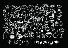 Desenhos da mão das crianças e das crianças ilustração royalty free