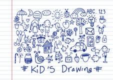 Desenhos da mão das crianças e das crianças ilustração do vetor