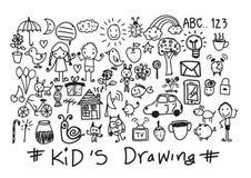 Desenhos da mão das crianças e das crianças ilustração stock