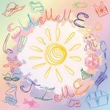 Desenhos da mão de símbolos e de Sun do verão Ilustração do vetor Fotos de Stock Royalty Free