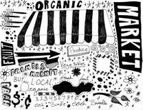 Desenhos da mão do mercado dos fazendeiros Imagem de Stock