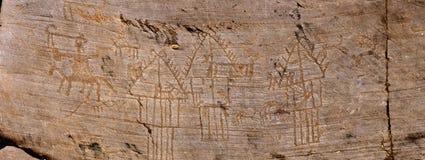 Desenhos da rocha em Valcamonica - panorama fotografia de stock royalty free
