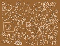 Desenhos das crianças, vetor Imagens de Stock