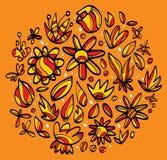 Desenhos das folhas e das flores Fotos de Stock Royalty Free