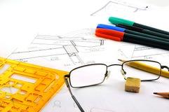 Desenhos de construção Fotografia de Stock Royalty Free