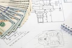 Desenhos de detalhe da engenharia para o fundo Imagens de Stock