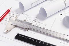 Desenhos de engenharia Imagens de Stock Royalty Free