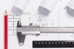 Desenhos de engenharia Imagem de Stock
