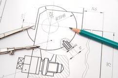 Desenhos de engenharia abstratos Imagens de Stock Royalty Free