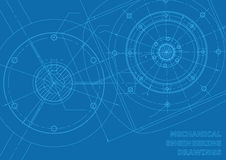 Desenhos de engenharia mecânica azuis Foto de Stock