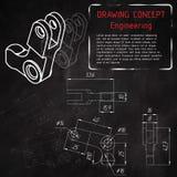 Desenhos de engenharia mecânica no quadro-negro Foto de Stock Royalty Free