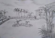 Desenhos de esboço do lápis da mão - paisagens ilustração royalty free