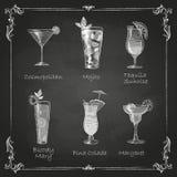 Desenhos de giz menu do cocktail Fotografia de Stock Royalty Free