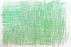 Desenhos de pastel verdes na textura de papel do fundo Fotografia de Stock