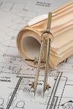 Desenhos do arquiteto fotografia de stock royalty free