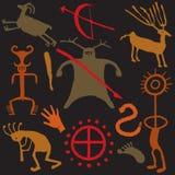 Desenhos do Caveman e da caverna ilustração stock