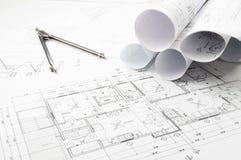 Desenhos do planeamento da construção Imagens de Stock