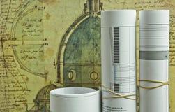 Desenhos do plano arquitetónico sobre o domme Fotos de Stock Royalty Free