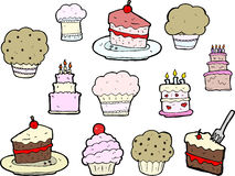 Desenhos do queque e do bolo Fotos de Stock