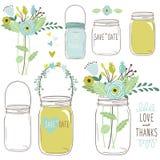 Desenhos do vetor de frascos e de flores do casamento Fotos de Stock