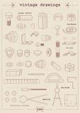 Desenhos do vintage Foto de Stock Royalty Free