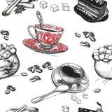 Desenhos dos acessórios do café ilustração do vetor