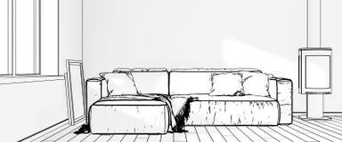 Desenhos dos interiores rendição 3d Foto de Stock Royalty Free