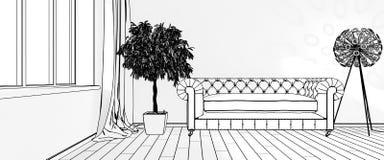 Desenhos dos interiores rendição 3d Fotos de Stock Royalty Free