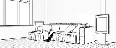 Desenhos dos interiores rendição 3d Fotografia de Stock Royalty Free