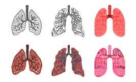 Desenhos dos pulmões humanos em estilos diferentes do desenho ilustração do vetor
