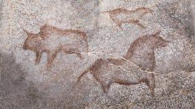Desenhos em uma caverna de animais antigos imagem de stock